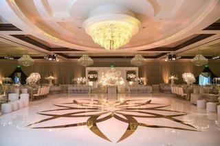 custom-white-dance-floor-with-gold-design-chandelier-above