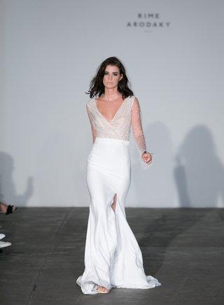 rime-arodaky-2018-bridal-collection-wedding-dress-v-neck-sheer-long-sleeve-high-slit-sleek-skirt