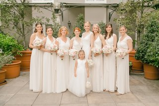bride-with-bridesmaids-in-white-mismatched-bridesmaid-dresses-in-different-necklines