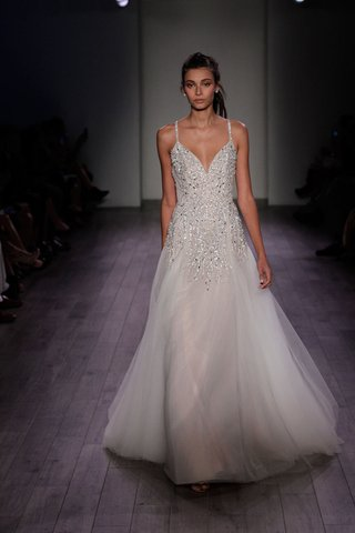 hayley-paige-2016-v-neck-spaghetti-strap-wedding-dress-with-crystal-embellished-bodice