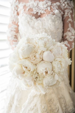 bride-in-couture-marchesa-illusion-wedding-dress-flower-applique-with-bouquet-white-fluffy-peony