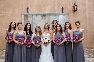 brock-osweiler-wedding-bridesmaids-in-joanna-august-long-bridesmaid-dresses