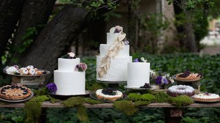 outdoor-wedding-reception-dessert-table-with-moss-white-wedding-cakes-pies-and-teacakes