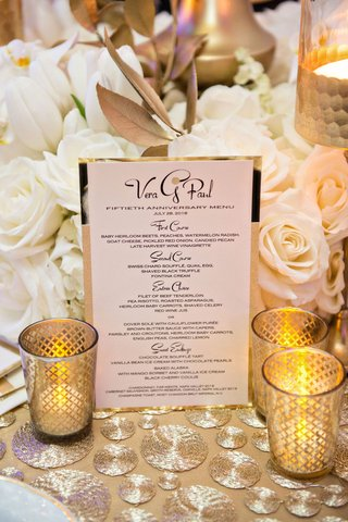wedding-anniversary-party-fifty-menu-first-course-three-courses-plus-dessert-gold-candles
