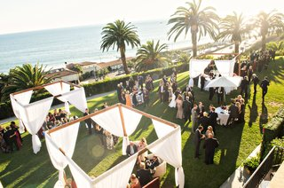 wedding-reception-cocktail-hour-at-bel-air-bay-club-pergola-palm-tree-ocean-view