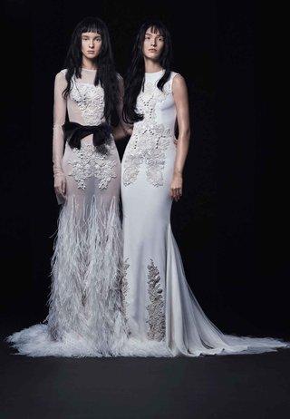 vera-wang-bride-fall-2016-sheer-ostrich-feather-wedding-dress-and-sleeveless-gown