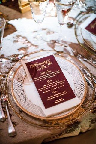 wedding-reception-menu-burgundy-menu-card-with-gold-foil-lettering-salad-halibut-and-wedding-cake