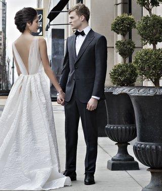peter-langner-wedding-dress-with-textured-skirt-tulle-v-back-bodice-classic-tuxedo