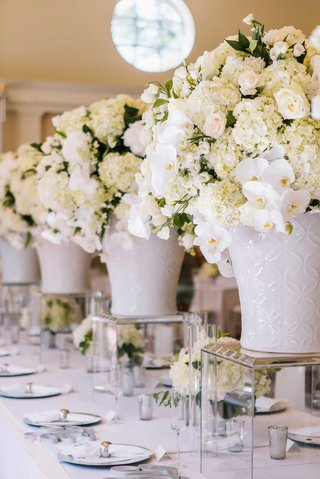 white-wedding-reception-decor-white-hydrangea-orchid-rose-centerpiece-in-ginger-jar-on-lucite