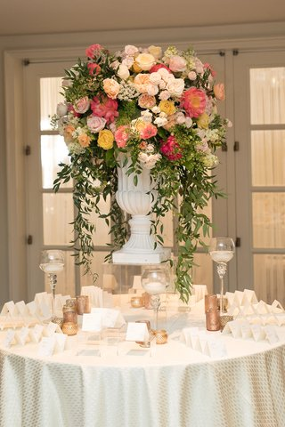 wedding-reception-escort-card-table-pink-orange-yellow-rose-peony-flowers-greenery-escort-cards