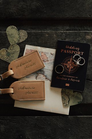 wedding-passport-save-the-date-for-travel-themed-wedding-along-with-leather-luggage-tags