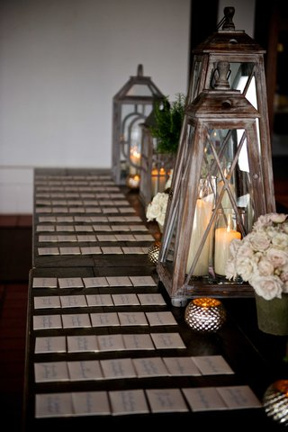 wood-escort-card-tables-with-lanterns-pillar-candles-white-light-pink-roses-at-elegant-rustic