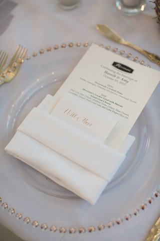 simple-wedding-menu-with-gold-calligraphy-escort-card-island-ingredients-for-delicious-fare-merriman