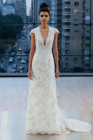 chelsea-ines-di-santo-fall-2018-v-neck-lace-wedding-dress-cap-sleeves-bridal-gown