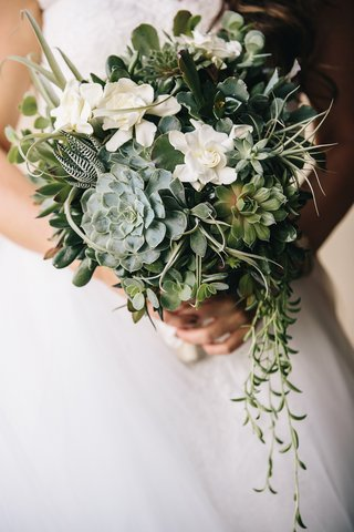 rustic-wedding-bouquet-with-greenery-gardenia-feather-and-succulents