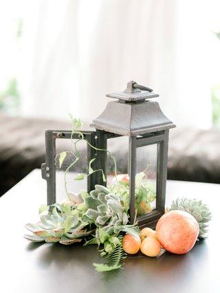summer-bridal-shower-decor-idea-rustic-lantern-filled-with-succulent-fresh-cherry-plum-fruits-greens