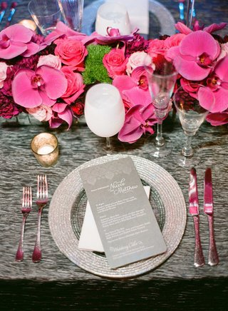 grey-reception-table-linen-with-silver-charger-plate-pink-orchid-centerpiece-white-wine-goblet