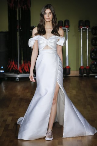 rivini-fall-2018-draped-and-twisted-off-the-shoulder-bows-flared-gown-with-slit