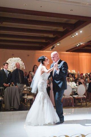 bride-and-groom-vow-renewal-anniversary-party-mermaid-trumpet-gown-veil-updo-dancing-dance-floor