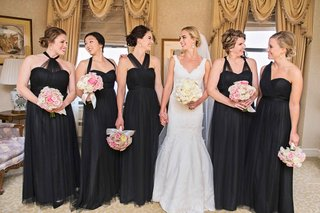 bride-in-matthew-christopher-bridesmaids-in-jenny-yoo-black-mismatched-bridesmaid-dresses
