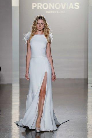 pronovias-2017-naomi-sheath-high-neckline-slit-crepe-embroidery-feather-sleeves-wedding-dress