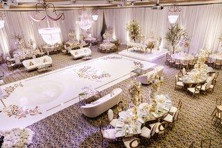 aerial-view-of-ballroom-reception-nfl-player-tahir-whitehead-white-gold-decor-dance-floor-sweetheart