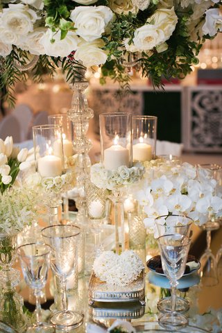 wedding-reception-centerpiece-white-rose-white-orchid-white-tulip-flowers-candles-crystal