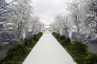wedding-ceremony-white-aisle-runner-greenery-and-cherry-blossom-trees-on-sides-silver-chairs