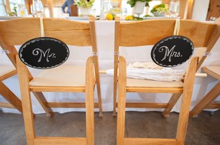 oval-chalkboards-labeled-with-mr-and-mrs-hang-from-chairs