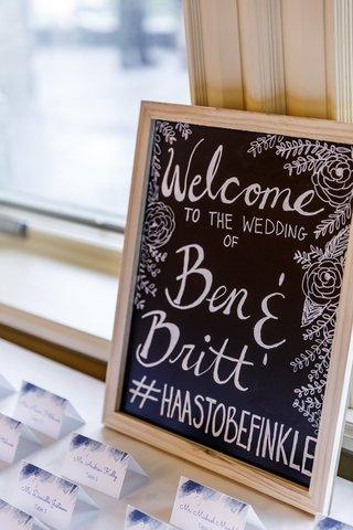 chalkboard-wedding-welcome-sign-with-wedding-hashtag