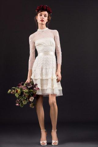 temperley-london-bridal-summer-2017-evie-three-quarter-sleeve-short-cocktail-wedding-dress-high-neck