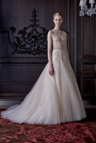 fit-and-flare-gown-with-tulle-skirt-and-plunging-neckline