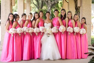 bride-strapless-reem-acra-wedding-dress-bridesmaids-high-neck-hot-pink-bridesmaid-dresses-white-pink
