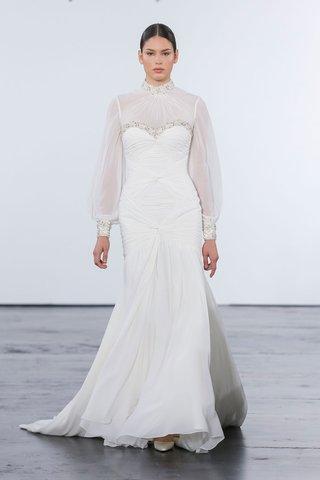 dennis-basso-for-kleinfeld-2018-collection-wedding-dress-high-neck-blouson-sleeve-draped-bodice