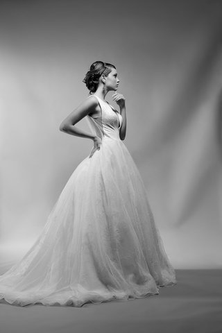 black-and-white-photo-of-martine-wedding-dress-by-icy-aster-deep-side-ball-gown-side-view-detail