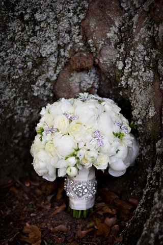 white-peony-and-white-rose-bridal-wedding-bouquet-with-rhinestone-dragonfly-brooch-accents