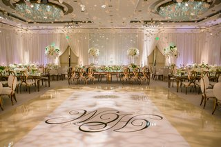 white-wedding-reception-ballroom-rose-gold-chairs-monogram-dance-floor-flowers-hanging-from-ceiling