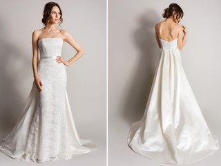 strapless-wedding-dress-with-lace-detail-and-overskirt-in-back