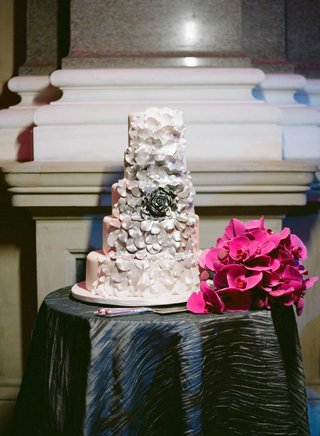 five-layer-wedding-cake-with-sugar-flower-rose-with-cascading-ombre-petals