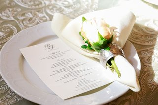 wedding-reception-place-setting-menu-card-on-top-of-white-plate-with-napkin-and-single-pink-rose