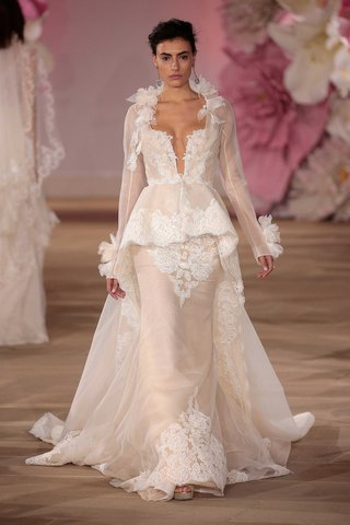 chic-wedding-dress-with-long-sleeve-peplum-overcoat-by-ines-di-santo-ciara-wedding-dress-lookalike