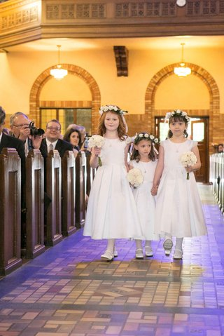 flower-girls-white-dresses-flower-crowns-classic-modest-roman-catholic-church-wedding-ceremony-style