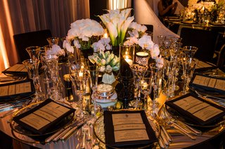 wedding-reception-round-table-low-centerpiece-rose-tulip-calla-lily-orchid-candles