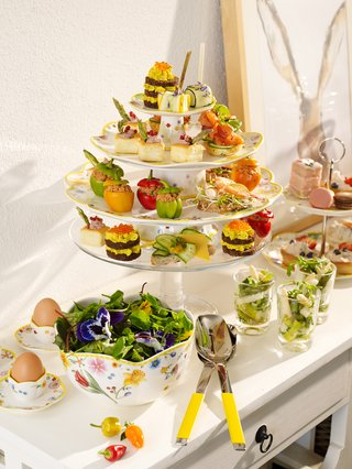 villeroy-boch-easter-breakfast-serving-platter-bowls-and-tea-cups-on-white-china-floral-detailing