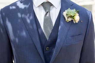 groom-in-navy-blue-three-piece-suit-grey-tie-succulenet-wedding-boutonniere-rustic-chic