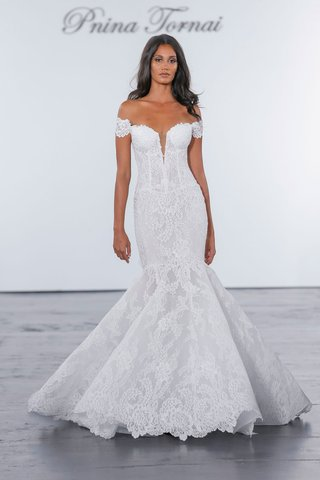 pnina-tornai-for-kleinfeld-2018-wedding-dress-lace-mermaid-gown-fit-flare-off-shoulder-corset-bodice
