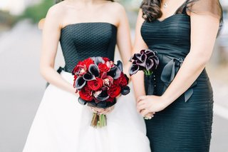 midnight-calla-lily-bridesmaid-bouquet-and-black-and-red-wedding-bouquet
