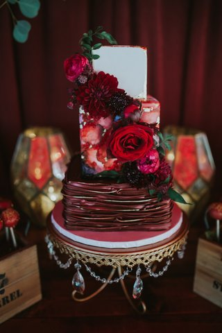 small-three-tier-wedding-cake-with-water-color-tier-and-vampy-colors