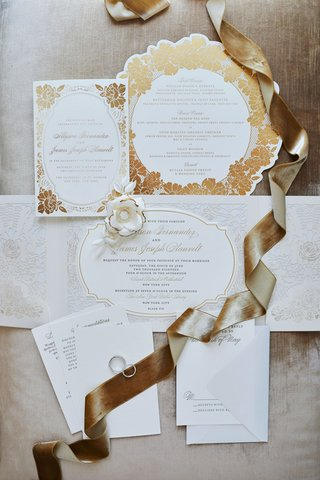 wedding-invitation-suite-gold-rose-flower-motif-design-die-cut-invitation-menu-card-and-envelopes