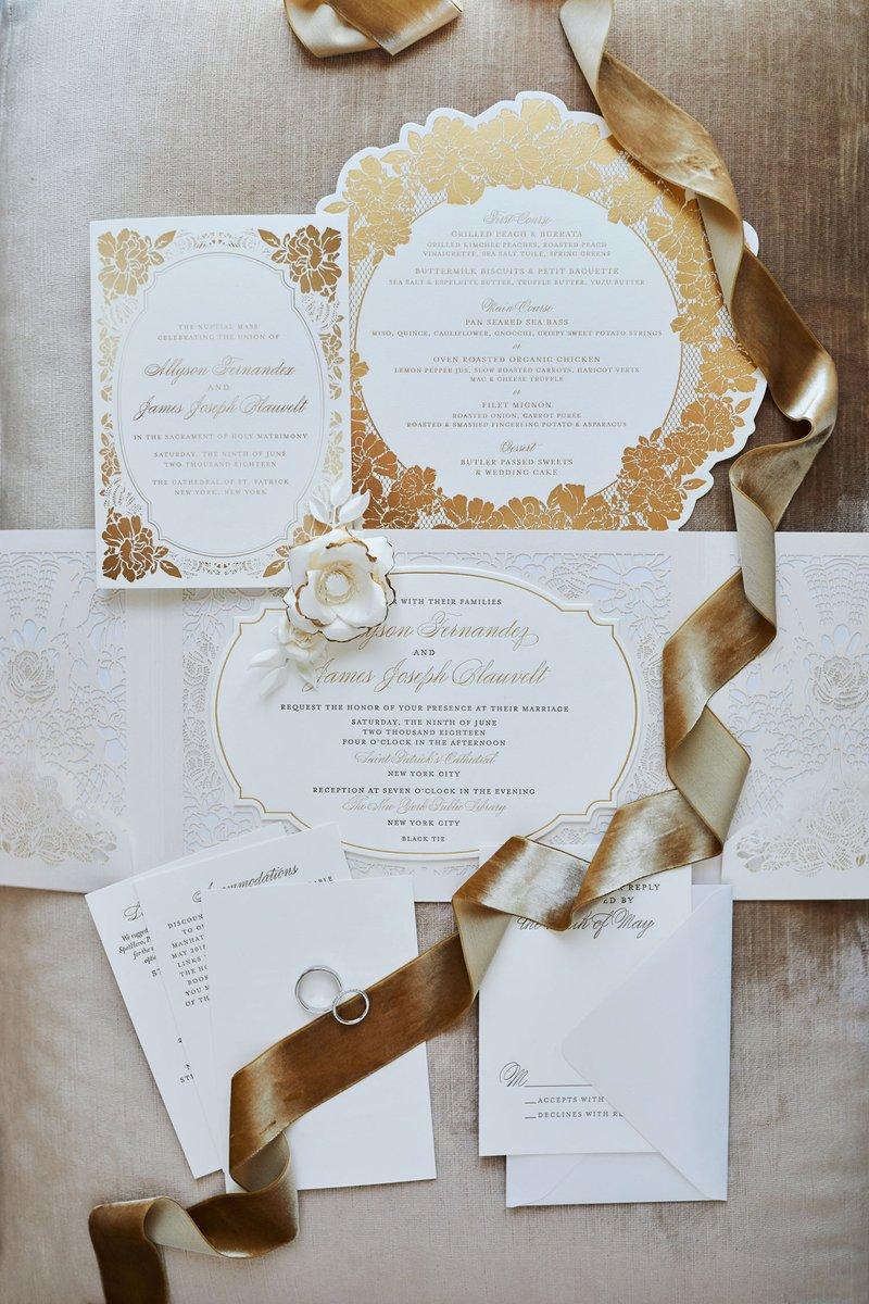 White & Gold Ceci New York Invitation